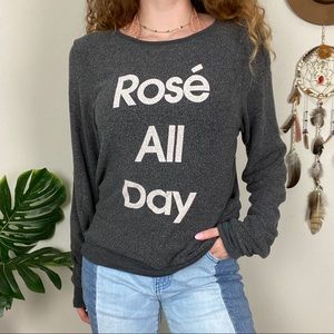WILDFOX Plush Cozy Textured Graphic Long Sleeve Sm